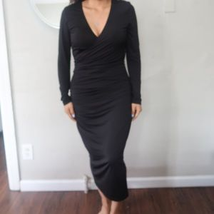 Black long wrap dress